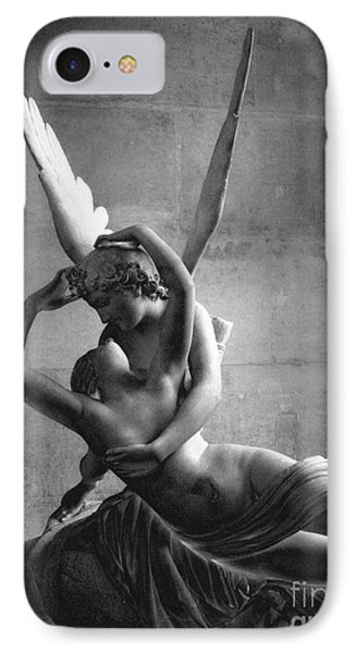 Paris In Love - Eros And Psyche Romantic Lovers - Paris Eros Psyche Louvre Sculpture Black White Art IPhone Case by Kathy Fornal