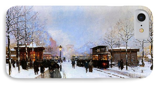 Paris In Winter IPhone Case by Luigi Loir