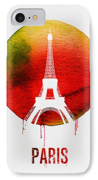 Paris Landmark Red IPhone Case by Naxart Studio