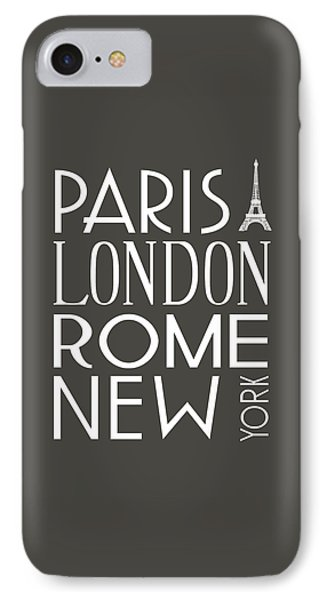 IPhone Case featuring the digital art Paris, London, Rome And New York Pillow by Jaime Friedman