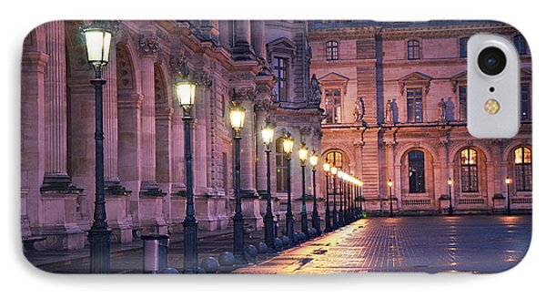 Paris Louvre Museum Street Lanterns Night Landscape - Louvre Museum Architecture Rainy Night Lights  IPhone Case