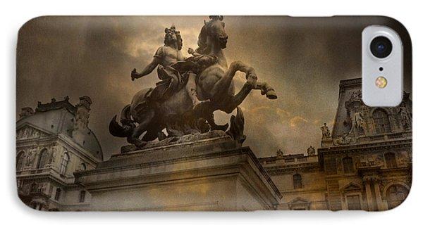 Paris - Louvre Palace - Kings Of Paris - King Louis Xiv Monument Sculpture Statue IPhone Case by Kathy Fornal
