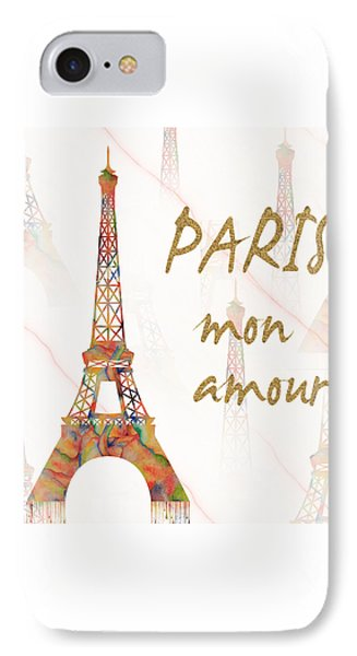 Paris Mon Amour Mixed Media IPhone Case by Georgeta Blanaru