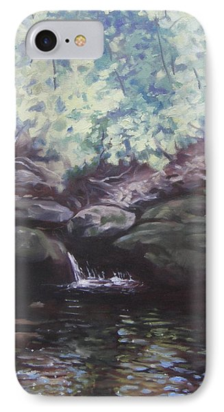 IPhone Case featuring the painting Paris Mountain Waterfall by Robert Decker
