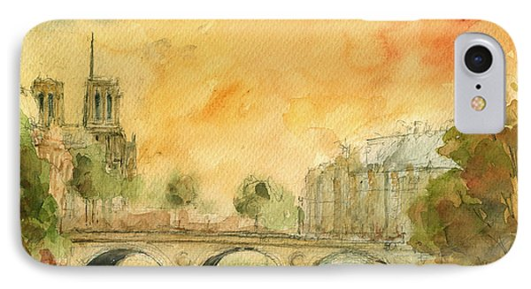 Paris Notre Dame IPhone Case by Juan  Bosco