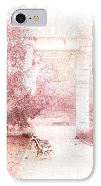 Paris Park Monceau Gardens Landscape - Dreamy Romantic Paris Pink Park Bench Park Monceau IPhone Case
