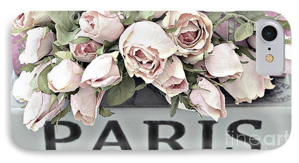 Paris Pastel Pink Shabby Chic Roses - Romantic Cottage Pink And White Roses IPhone Case by Kathy Fornal