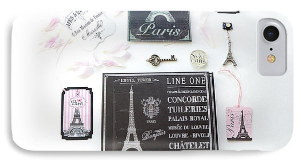 IPhone Case featuring the photograph Paris Pink Black French Script Wall Decor Art, Paris Print Collection  - Parisian Pink Black Decor   by Kathy Fornal
