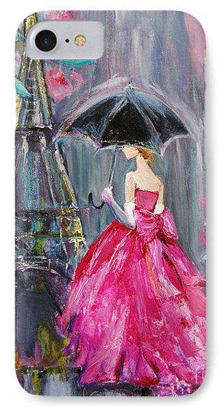 IPhone Case featuring the painting Paris Rain by Jennifer Beaudet