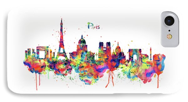 IPhone Case featuring the mixed media Paris Skyline 2 by Marian Voicu