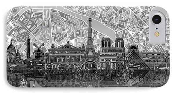 IPhone Case featuring the painting Paris Skyline Black And White by Bekim Art