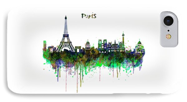 Paris Skyline Watercolor IPhone Case