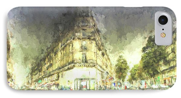 IPhone Case featuring the mixed media Paris Streets by Jim  Hatch