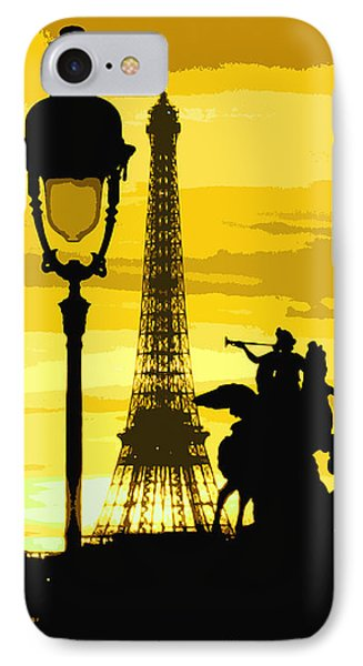 Paris Tour Eiffel Yellow IPhone Case by Yuriy  Shevchuk