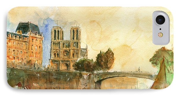 Paris Watercolor IPhone Case by Juan  Bosco