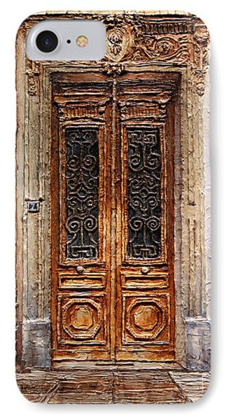 IPhone Case featuring the painting Parisian Door No.7 by Joey Agbayani