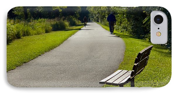 Park Bench And Person On Walking Trail Photo IPhone Case