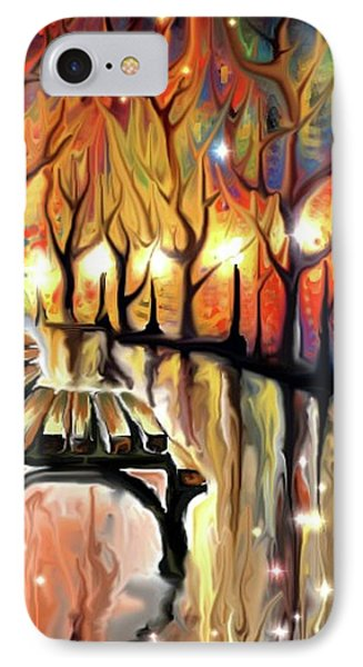 IPhone Case featuring the digital art Park Bench by Darren Cannell