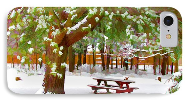 Park In Winter With Snow Phone Case by Lanjee Chee