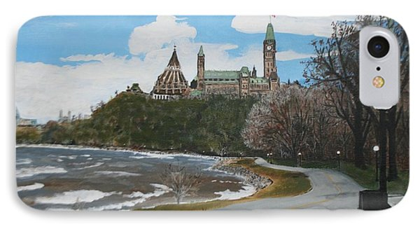 IPhone Case featuring the painting Parliament Hill Ottawa River by Betty-Anne McDonald