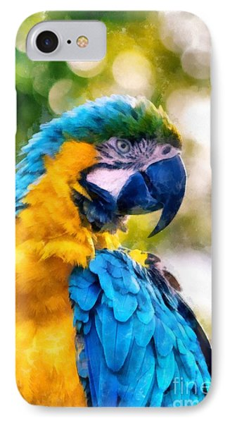 IPhone Case featuring the painting Parrot Watercolor by Edward Fielding
