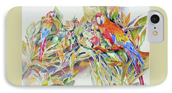 IPhone Case featuring the painting Parrots In Paradise by Mary Haley-Rocks