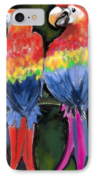 IPhone Case featuring the painting Parrots by Kevin Middleton