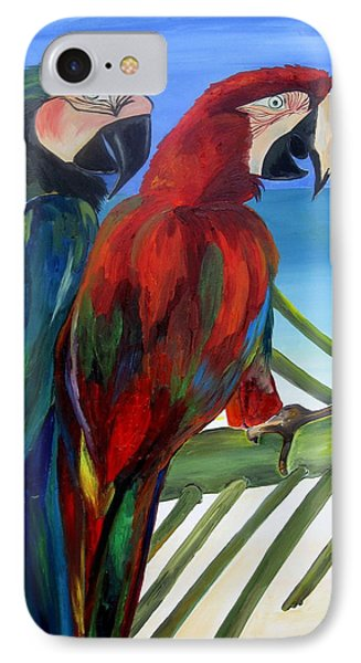 Parrots On The Beach Phone Case by Patti Schermerhorn
