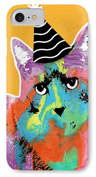 Party Cat- Art By Linda Woods IPhone Case by Linda Woods