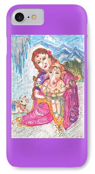 Parvathi And Baby Ganesh IPhone Case by Chitra Pandalai