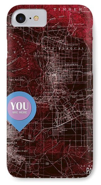 Pasadena California Red Old Map IPhone Case by Pablo Franchi