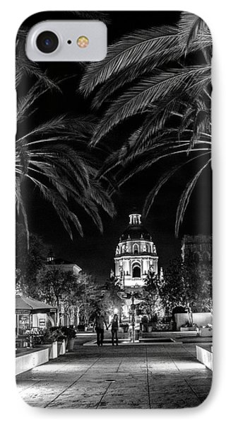 IPhone Case featuring the photograph Pasadena City Hall After Dark In Black And White by Randall Nyhof