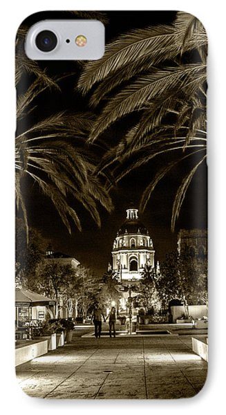 IPhone Case featuring the photograph Pasadena City Hall After Dark In Sepia Tone by Randall Nyhof