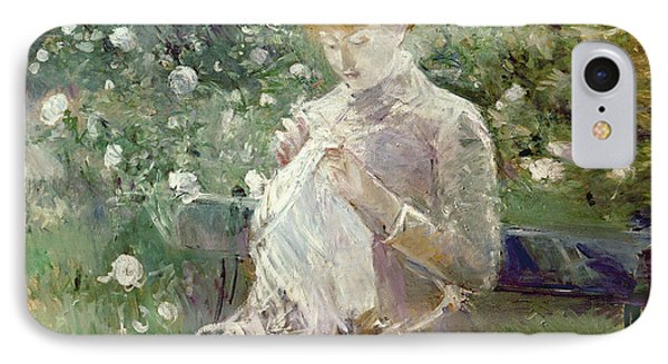 Pasie Sewing In Bougivals Garden Phone Case by Berthe Morisot