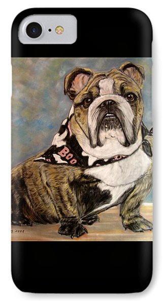 Pastel English Brindle Bull Dog Phone Case by Patricia L Davidson