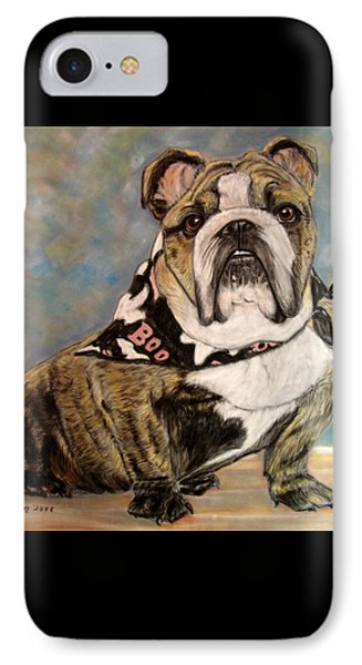 Pastel English Brindle Bull Dog IPhone Case by Patricia L Davidson