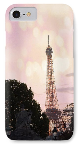 IPhone Case featuring the photograph Pastel Paris Eiffel Tower Sunset Bokeh Lights - Romantic Eiffel Tower Pink Pastel Home Decor by Kathy Fornal
