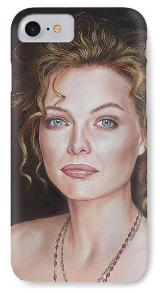 Pastel Portrait Of Amazing Michelle Pfeiffer IPhone Case by Teodor Bozhinov