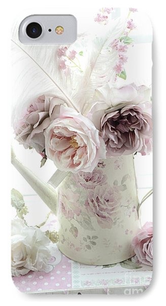 IPhone Case featuring the photograph Pastel Romantic Shabby Chic Pink Flowers In Watering Can - Romantic Cottage Floral Home Decor  by Kathy Fornal