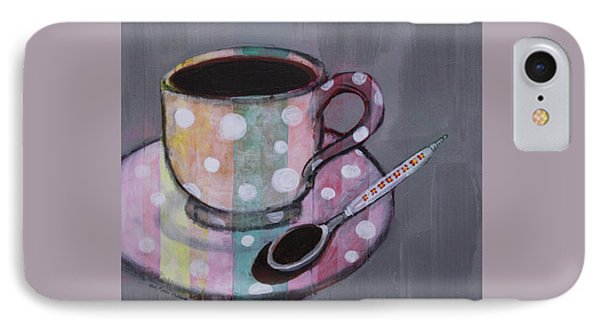 IPhone Case featuring the painting Pastel Stripes Polka Dotted Coffee Cup by Robin Maria Pedrero