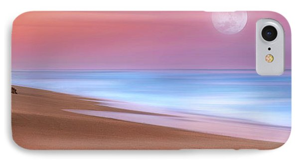 Pastel Sunset And Moonrise Over Hutchinson Island Beach, Florida. IPhone Case by Justin Kelefas