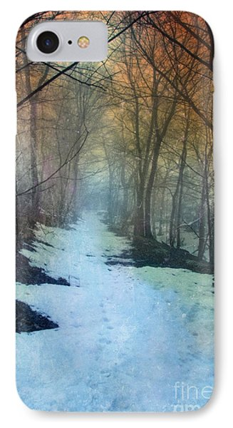 Path Through The Woods In Winter At Sunset Phone Case by Jill Battaglia