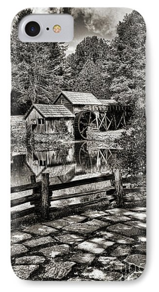 Pathway To Marby Mill In Black And White IPhone Case by Paul Ward