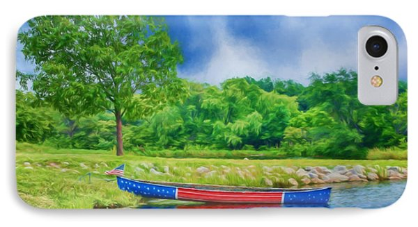 Patriotic Canoe - 2 - Red White Blue IPhone Case by Nikolyn McDonald