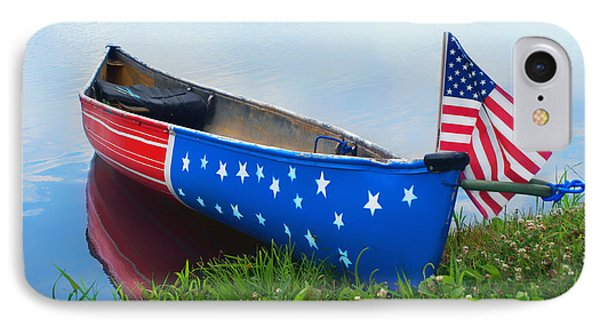 Patriotic Canoe - 3 - 4th Of July IPhone Case by Nikolyn McDonald