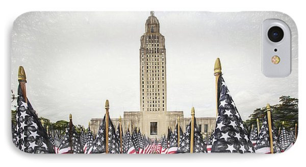 Patriotic Display At The Louisiana State Capitol IPhone Case by Scott Pellegrin