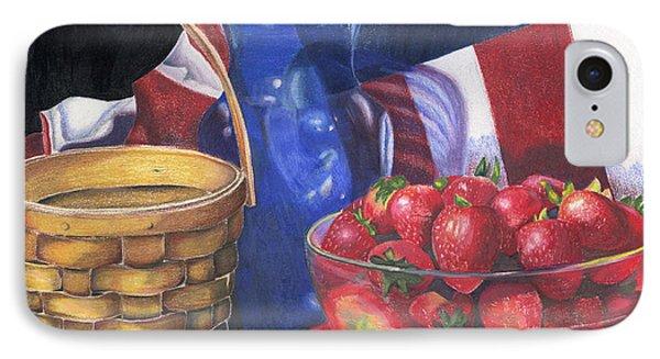 Patriotic Strawberries IPhone Case by Angela Armano