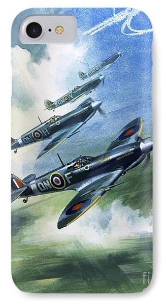 Patrolling Flight Of 416 Squadron, Royal Canadian Air Force, Spitfire Mark Nines IPhone Case by Wilf Hardy