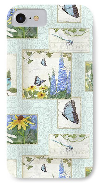 Pattern Butterflies Dragonflies Birds And Blue And Yellow Floral IPhone Case by Audrey Jeanne Roberts
