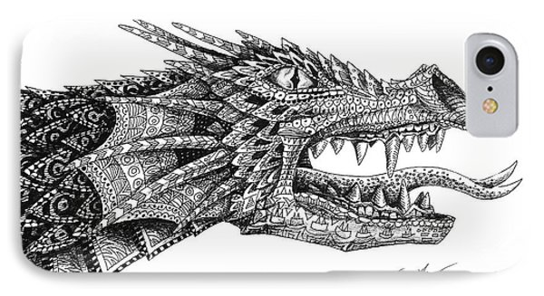 IPhone 7 Case featuring the drawing Pattern Design Dragon by Aaron Spong